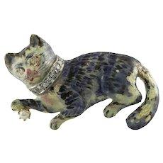 Cat Brooch Diamond Pearl Enamel Pin 14K Gold