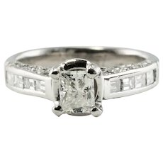 Diamond Ring Platinum Engagement EGL Certified 1.40 TDW