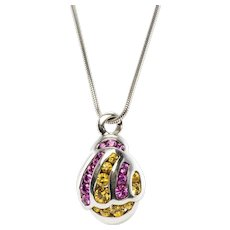 Pink Yellow Sapphire Pendant Necklace 18K White Gold