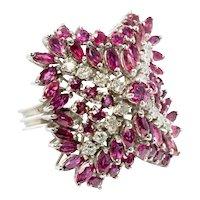 Diamond Ruby Ring 14K White Gold Cocktail Vintage