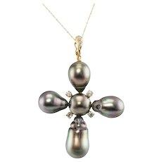 Black Baroque Pearl Diamond Cross Pendant 18K Gold