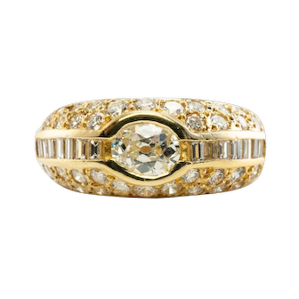 Estate 18K Yellow Gold .70ct Old Euro Diamond Round Channel Ring Band 1.88cttw