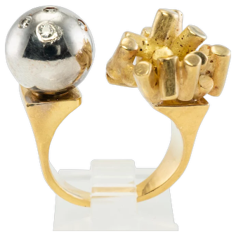 Vintage Jewelry Futuristic 14K Yellow White Gold Diamond Modern Ring 17.4gr