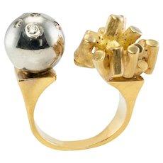 Modern Diamond Ring 18K Yellow White Gold Ball Vintage
