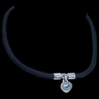 Chopard 18K White Gold Heart Happy Diamonds Pendant Black Rubber Cord Necklace
