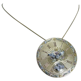 Unique Vintage 14K Yellow Gold Miner Diamond Huge Clock Watch Brooch Pendant Pin