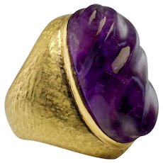 Carved Fluted Amethyst Huge Cocktail Ring 18K Yellow Gold Guards