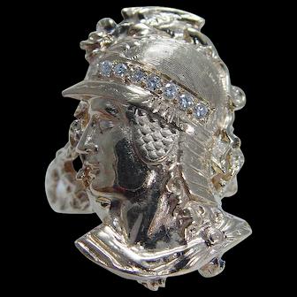 Vintage Jewelry 14K Yellow Gold Warrior Hermes Mercury Huge Ring with Diamonds