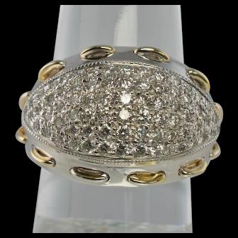 Diamond Ring Large Dome 14K White Yellow Gold