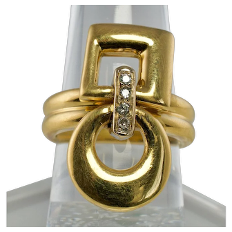 Made in Italy Designer Luca Carati 18K Yellow Gold Diamond Ring Movable parts