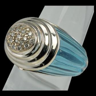 Carved Blue Topaz Diamond Ring SBT 18K White Gold