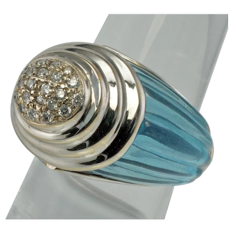 Estate Jewelry SBT 18K White Gold Carved Blue Topaz Diamonds Designer Ring