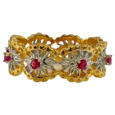 Franklin Mint Ruby Eternity Ring 14K Gold Band Vintage