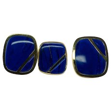 Blue Lapis Lazuli Ring Earrings Set 18K & 14K Gold Vintage