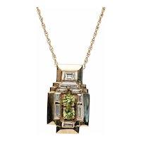 Peridot Diamond Pendant Necklace 14K Gold Chain Vintage