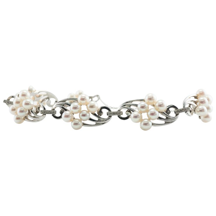 Mikimoto Cultured Pearl Bracelet 14K White Gold