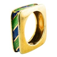 Tiffany and Co Enamel Ring Square 18K Gold Band Vintage