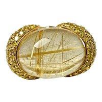 Diamond Yellow Rutilated Quartz Ring 14K Gold Cocktail