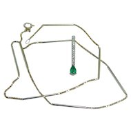 Vintage Jewelry 14K Yellow Gold Emerald Diamonds Bar Pendant Necklace w Chain
