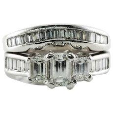 Diamond Ring 14K Gold Double Band Vintage 1.50 TDW