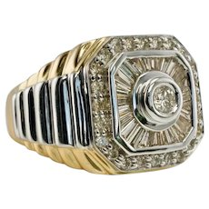 Mens Diamond Ring 14K Gold Band Vintage 1.50 TDW
