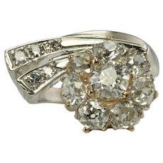 Art Deco Diamond Ring 14K White Gold 1.86 TDW