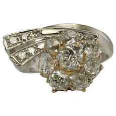 Old mine cut Diamond Ring 14K White Gold Art Deco