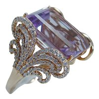 Diamond Amethyst Ring 18K Gold Cocktail Vintage Italy