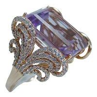Diamond Amethyst Ring 18K Gold Cocktail Vintage Italy