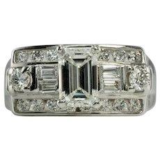 Diamond Ring 14K White Gold Band Vintage 1.14 TDW