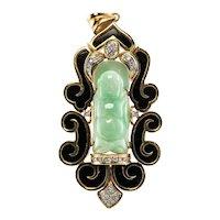 Diamond Jade Buddha Pendant Buddhist Jewelry 14K Gold