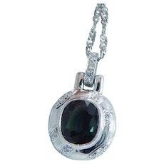 Diamond Green Sapphire Pendant Necklace Platinum 14K White Gold