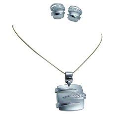 Baraka Diamond Pendant Earrings Set 18K White Gold