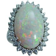 Vintage 14K White Gold 23x15mm 9.83ct Opal .78ct Diamond Large Cocktail Ring