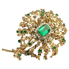 Diamond Emerald Brooch Floral Pendant 14K Gold