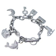 Diamond Charm Bracelet 3.45 CTW 18K White Gold