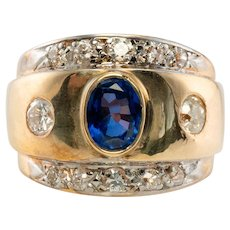 Old Mine cut Diamonds Sapphire Wide Band Ring 14K Yellow Gold