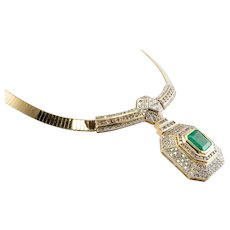 7.61ct Emerald 5.30cts Diamonds Chunky Necklace MNC Italy 14K Yellow Gold