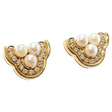 Cultured Akoya Pearl Diamond Earrings 18K Yellow Gold Three Trinity Pearls