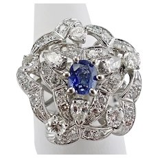 Sapphire Diamond Ring Cocktail Large 14K White Gold