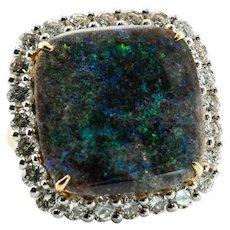 Diamond & Black Opal Ring 14K Gold Cocktail