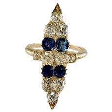 Victorian Diamond Ceylon Sapphire Ring 14K Gold