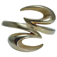 Estate 18K Yellow Gold Loto Huge Bangle Bracelet 28.3gr Italy Designer Jewelry