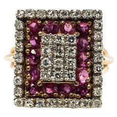 Ruby Diamond Ring July April Birthstone 14K Yellow White Gold