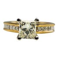 Scott Kay Diamond Ring 19K Gold Band 1.03 ct Center