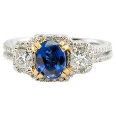 Diamond Sapphire Ring 18K White Gold Band Engagement