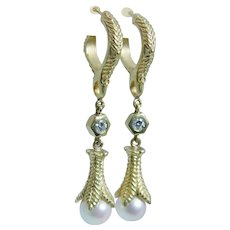 Pearl Diamond Earrings 18K Yellow Gold 9mm Cultured Pearls Diamonds Dangle