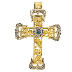 Sapphire Diamond Cross Pendant Platinum & 18K Gold