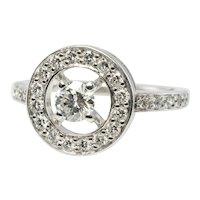 Boucheron Diamond Ring 18K White Gold Circle Vintage