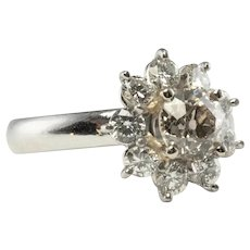 Diamond Ring Platinum Flower 2.15 ct Center